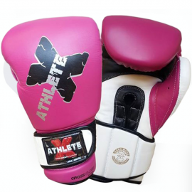 Athlete-X Boxing Gloves Leather Pink/White 12oz